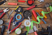 Tools on a timber floor — Stock Photo
