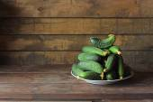Still life with cucumbers . — Stock Photo