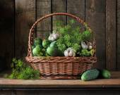 Basket with cucumbers. — Stock Photo