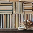 Background from books. Books close up. Books on the shelf. — Stock Photo #80306974