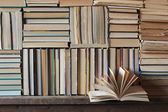 Background from books. Books close up. Books on the shelf. — Stock Photo
