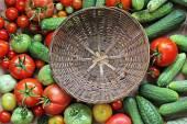 新鮮なきゅうり、赤と緑のトマト — ストック写真