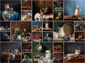 Collage from the still lifes made in kitchen. — Stock Photo