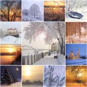 Collage from winter photos. — Stock Photo