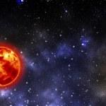 Постер, плакат: Glowing sun in star cluster