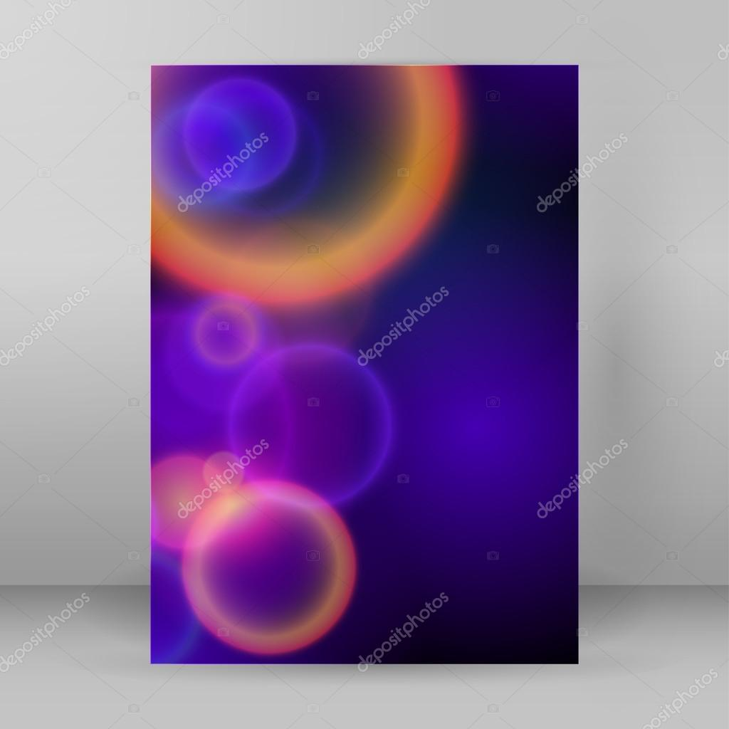 cover page a4 brochure blue background blur circles stock vector advertising flyer party design elements purple background elegant graphic blur bright light circles fun illustration for template brochure