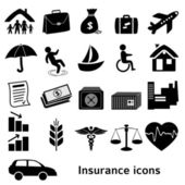Icons-insurance-black-isolated-on-white-background — Stock Vector