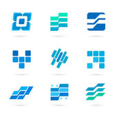 Set-of-blue-icons-isolated-on-white-background — Vetor de Stock