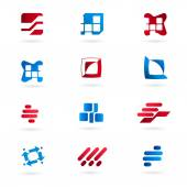 Set-red-blue-icons-isolated-on-white-background — Vector de stock