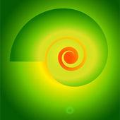 Fibonacci-spiral-vortex-on-a-bright-green-background — Stock Vector