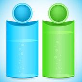 Vertical-Banner-chemistry-flask-bio-organics-product — Stock Vector