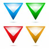 Map-pointer-triangle-set-button — Stock Vector