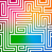 Rainbow-gradient-background-glowing-maze — Stock Vector