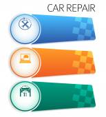 Service-car-repair-button-horizontal-banner-isolated — Stockvektor