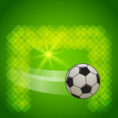 Score-a-goal-football-ball-on-green-glowing-background — Stock Vector