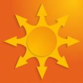 Arrow-sunbeam-effect-cut-paper-hot-yellow-background — Stock Vector
