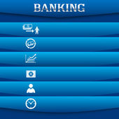 Banking-concept-on-blue-background-with-a-card-icon — Vettoriale Stock