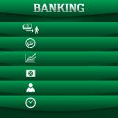 Banking-concept-on-green-background-with-a-card-icon — Vetor de Stock