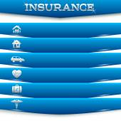 Insurance-services-concept-on-white-background-blue-stripe-card — Vetor de Stock