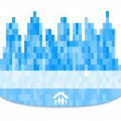 City-silhouette-family-property-blurred-background — Stock Vector