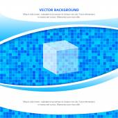 Blue-square-mosaic-background-transparent-cube — Stock Vector