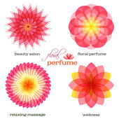 Pink-flowers-set-logo-icon-floral-fragrance — Stock Vector