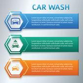 Car-wash-horizontal-banner-set-gray-background — Vector de stock