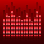 Glowing effect music equalizer dark red background — Vettoriale Stock