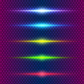 Design element set of glowing lines of colored light — Vector de stock