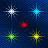 Design element set of colored light shining stars — Stockvektor