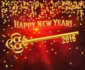 Happy new year 2016 gold key card congratulations — Stok Vektör