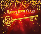 Happy new year 2016 gold key card congratulations — Stock vektor