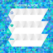 Insurance concept blue background abstract mosaic triangles — Stock Vector