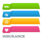 Insurance horizontal banner page title cut tabs effect — Stock Vector
