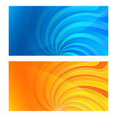 Business card set horizontal banner twist lines blue yellow back — Stock Vector