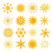 Set of icons picture hot summer solndtse — Stock Vector