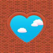 Stone wall-window heart heavenly sky pink clouds — Stock Vector