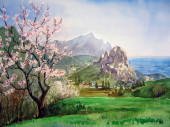 Landscape with flowering tree — Photo