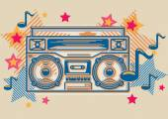 Boom box melody — 图库矢量图片