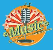 Decorative music emblem — Vector de stock