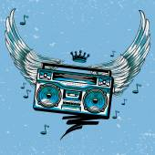 Drawn boom box & wings — Vetor de Stock