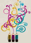Pencils and color curls — Stock Vector