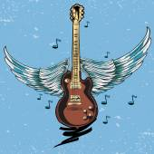 Winged guitar illustration — Stock Vector
