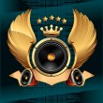 Audio speaker emblem — Stock Vector #65799055
