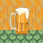 Beer on wheat and hop pattern — Stock Vector