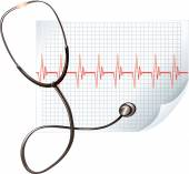 Stethoscope and  cardiogram line — Vettoriale Stock