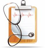 Stethoscope, cardiogram and clipboard — Stock Vector