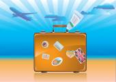Travel suitcase with stickers — Stock Vector