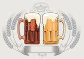 Dark and light beer — Stock Vector