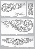 Set of vintage decorative design elements on scraps of paper — Stock Vector